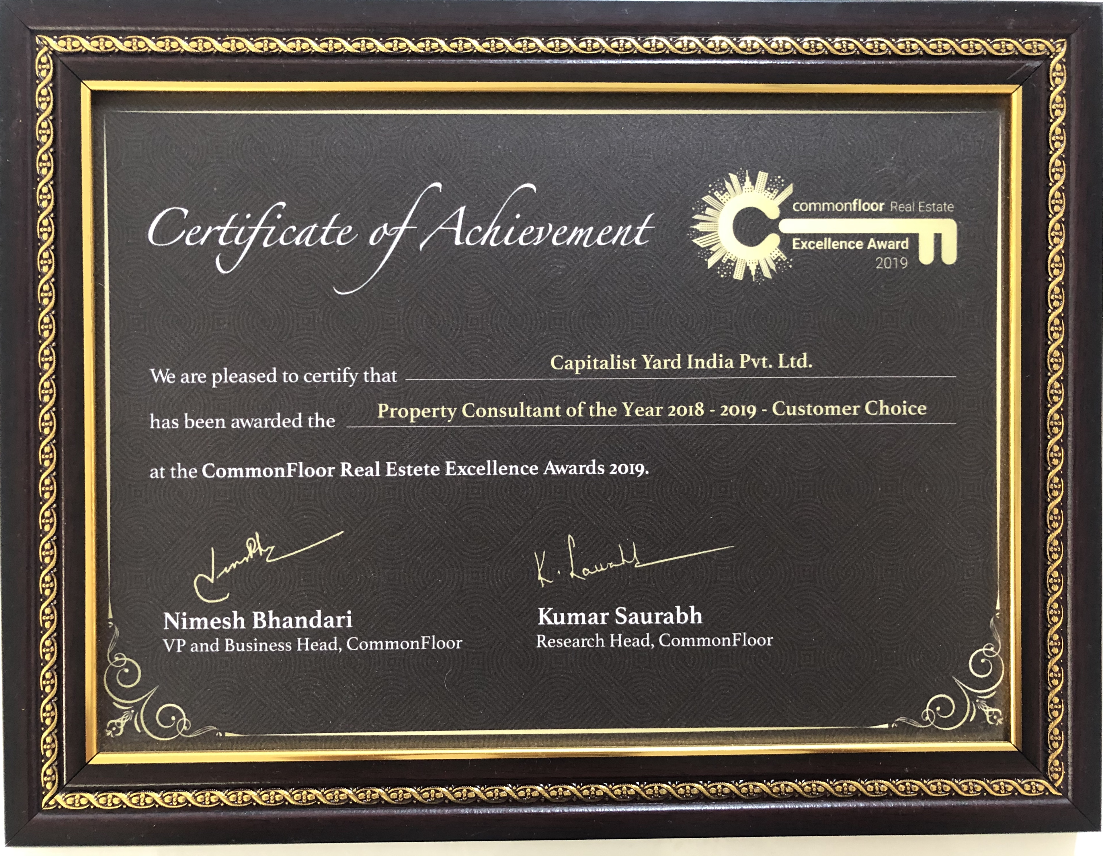 Capitalist Yard Award by Commmonfloor | Best Property Consultant in Bangalore