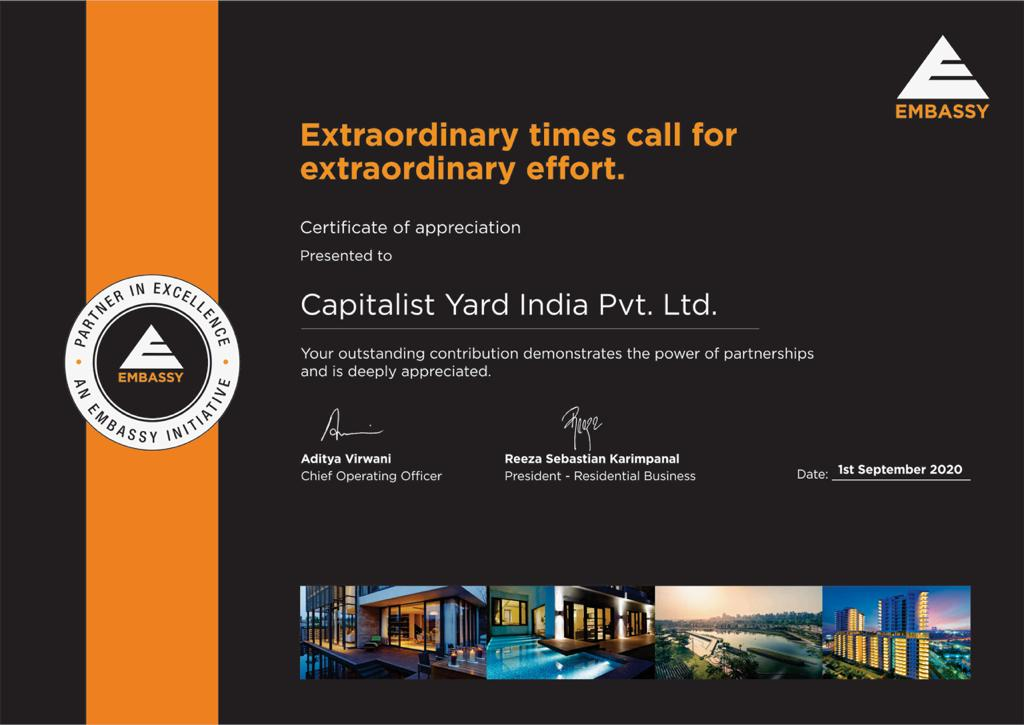 Capitalist Yard Award by Embassy Group